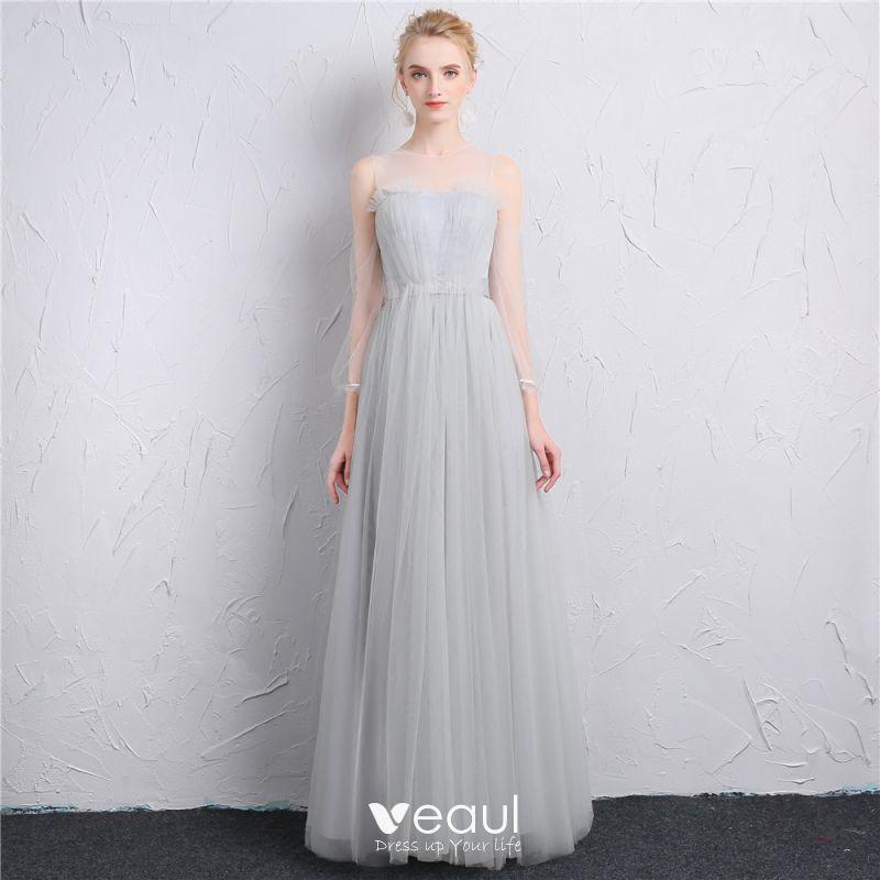 1fa8ddf561 Modest   Simple Grey See-through Bridesmaid Dresses 2019 A-Line   Princess Square  Neckline Puffy 3 4 ...