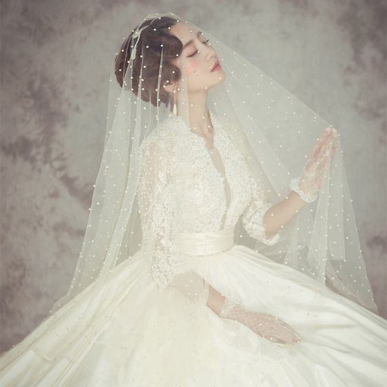 Klasyczna Eleganckie Białe Welony Ślubne 2020 3 m Tiulowe Frezowanie Perła Trenem Kaplica Ślub