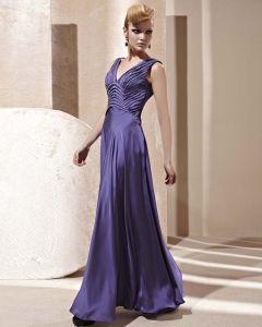 V-ausschnitt Rüschen Ärmellose Bodenlange Rückenfreie Charmeuse Frau Abendkleid