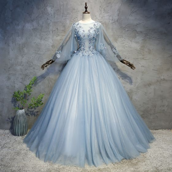 Chic / Beautiful Sky Blue Prom Dresses 2018 Ball Gown Appliques ...