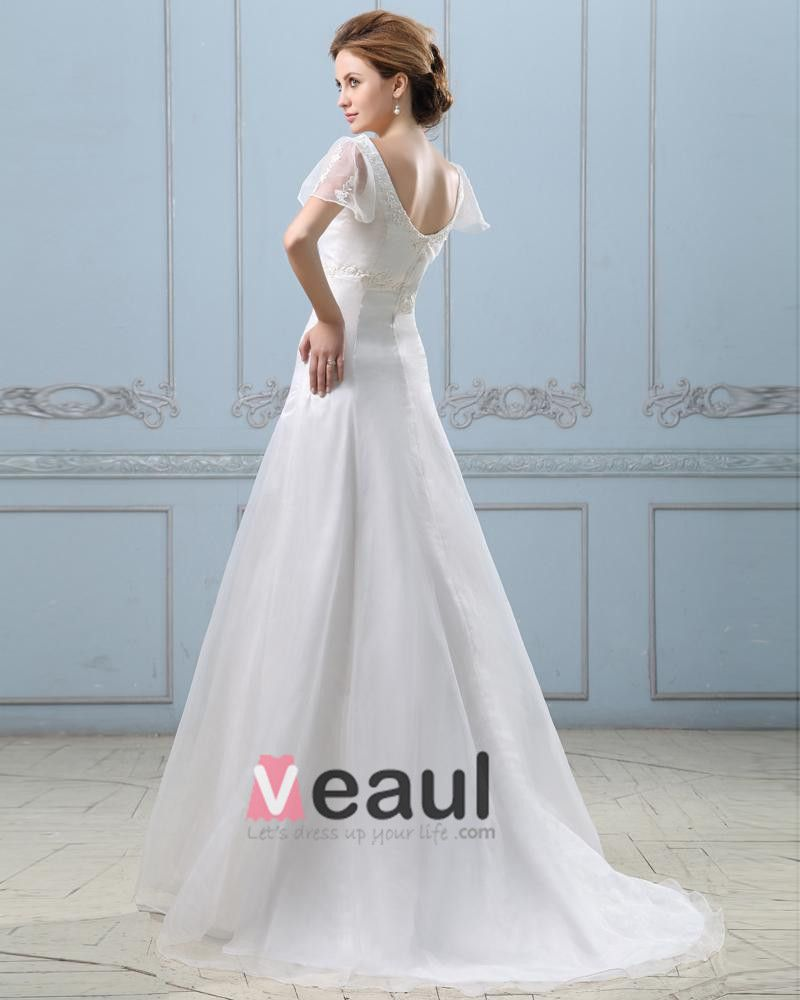 Applique Short Sleeve V Neck Satin Organza Sheath Wedding Dress