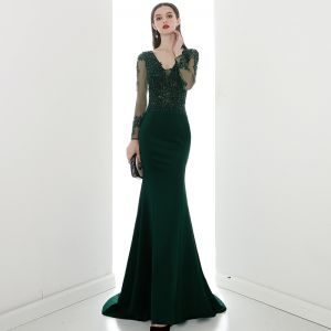 Illusion Dark Green See-through Evening Dresses  2020 Trumpet / Mermaid V-Neck Long Sleeve Appliques Lace Beading Sweep Train Ruffle Backless Formal Dresses