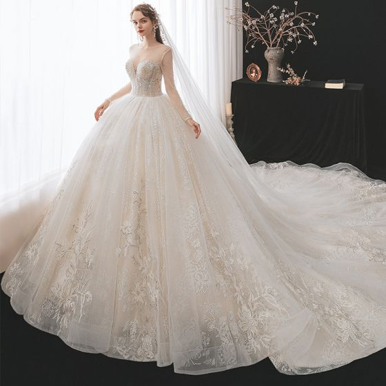 Romantic Champagne See-through Bridal Wedding Dresses 2020 Ball Gown Scoop Neck Long Sleeve Backless Appliques Lace Beading Glitter Tulle Cathedral Train Ruffle