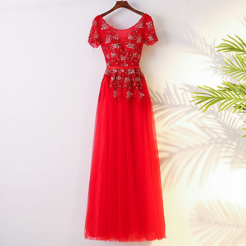 Chic / Beautiful Chinese style Red Evening Dresses  2017 Embroidered Sequins Strappy Lace Tulle Evening Party