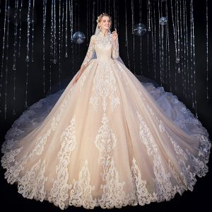Vintage / Retro Muslim Champagne Wedding Dresses 2020 Ball Gown High Neck 3/4 Sleeve Pierced Appliques Lace Cathedral Train Ruffle