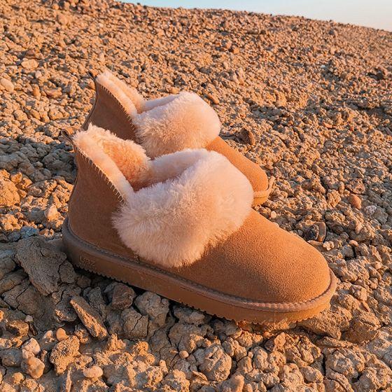 Schön Kastanienbraune Schneestiefel 2020 Leder Ankle Boots Winter Flache Freizeit Runde Zeh Stiefel Damen