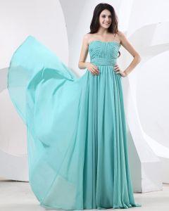 Bule Chiffon Strapless Ruffle Floor Length Evening Dresses