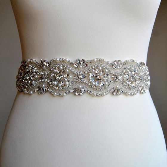 Luxury / Gorgeous Ivory Wedding Sash 2020 Satin Metal Beading Crystal Pearl Rhinestone Bridal Prom Accessories