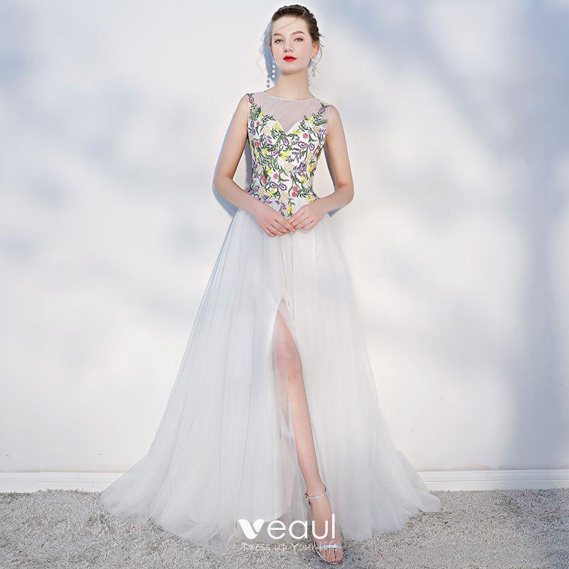 Elegant Multi Colors Beach Wedding Dresses 2018 A Line Princess