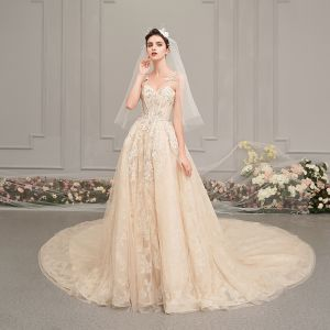 Elegant Champagne Wedding Dresses 2019 A-Line / Princess Spaghetti Straps Sleeveless Backless Glitter Appliques Lace Pearl Beading Chapel Train Ruffle