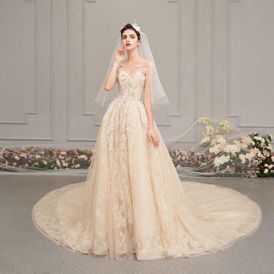 Elegant Champagne Wedding Dresses 2019 A-Line / Princess Spaghetti Straps Sleeveless Backless Glitter Appliques Lace Pearl Beading Chapel Train Ruffle