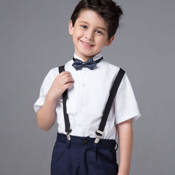 Modest / Simple Boys Wedding Suits 2017 White Short Sleeve