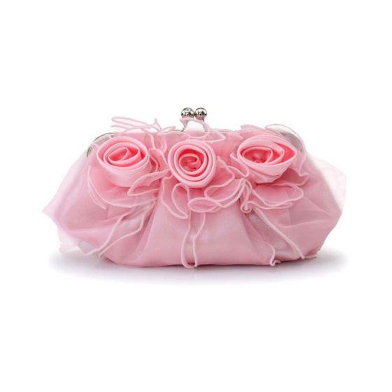 Fashion Rose Flower Clutch Bag Sweet Bridesmaid Handbag Banquet Small Bag