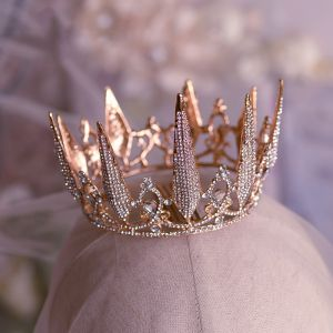 Elegant Rose Gold Bridal Hair Accessories 2019 Metal Rhinestone Tiara Wedding Accessories