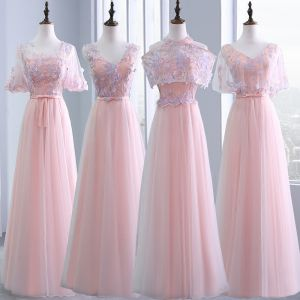 Chic / Beautiful Pearl Pink Bridesmaid Dresses 2018 A-Line / Princess Appliques Flower Bow Sash Beading Floor-Length / Long Ruffle Backless Wedding Party Dresses
