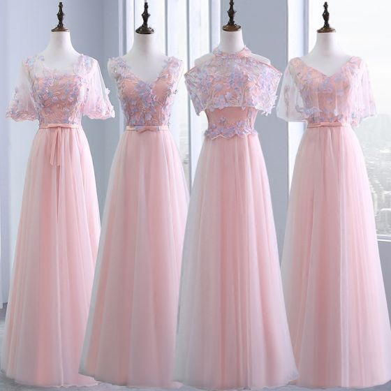 4ad64be6ed16 Chic / Beautiful Pearl Pink Bridesmaid Dresses 2018 A-Line / Princess  Appliques Flower Bow Sash Beading ...
