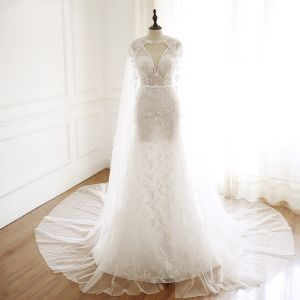 Luxury / Gorgeous Ivory Handmade  Beading Wedding Dresses With Shawl 2019 Trumpet / Mermaid V-Neck Lace Flower Crystal Sequins Sleeveless Backless Sash Court Train
