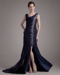 Round Neck Ruffle Beading Floor Length Chiffon Woman Prom Dress