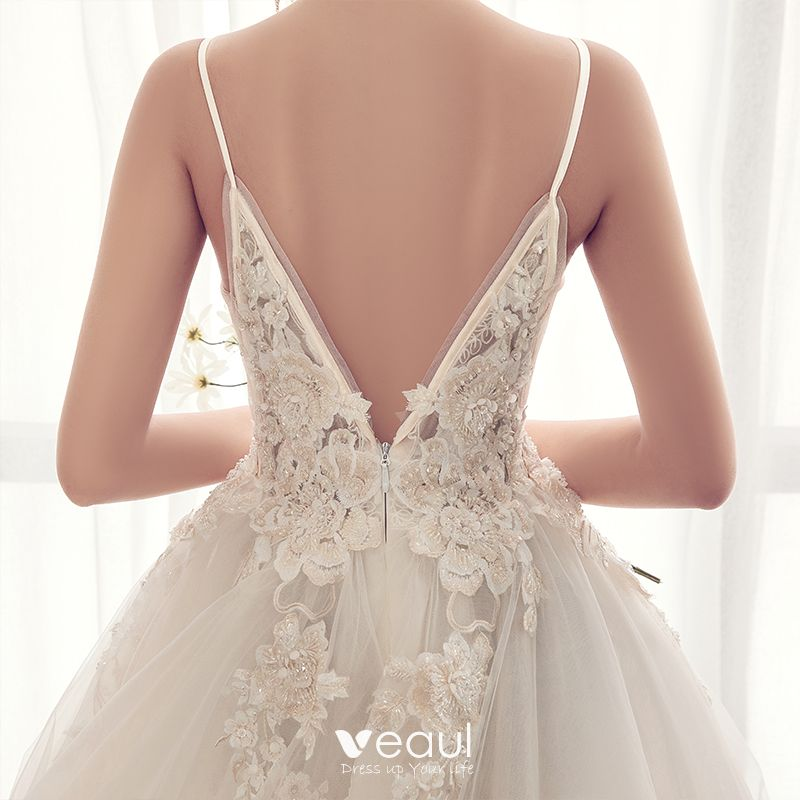 Elegant Champagne Wedding Dresses 2019 A-Line / Princess Spaghetti Straps Beading Lace Flower Sleeveless Backless Cathedral Train