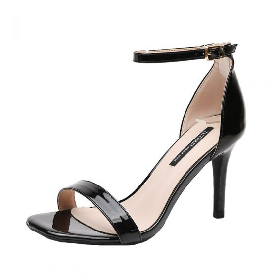 Sexy Black Cocktail Party Patent Leather Womens Sandals 2020 Ankle Strap 9 cm Stiletto Heels Open / Peep Toe Sandals