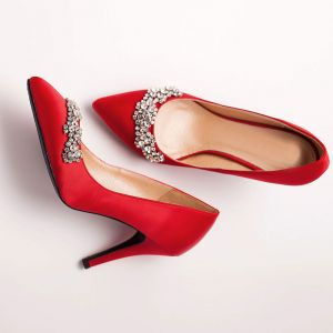Red Shine Rhinestone Crystal Bridal Shoes / Wedding Shoes / Woman Shoes