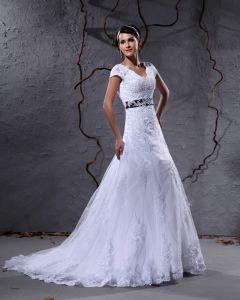 Gasvav Applikationer Chapel Tag A-linje Brudklänningar Bröllopsklänningar