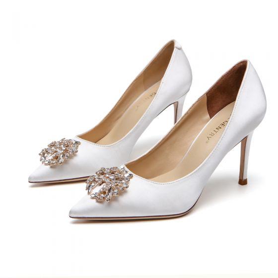 Elegante Ivory / Creme Seide Satin Strass Brautschuhe 2021 8 cm Stilettos Spitzschuh Hochzeit Pumps Hochhackige