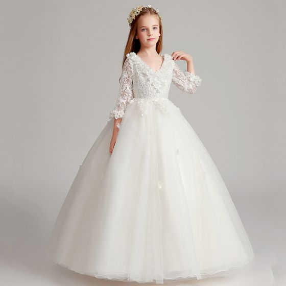 Chic / Beautiful White Flower Girl Dresses 2017 Ball Gown V-Neck 3/4 Sleeve Lace Appliques Flower Floor-Length / Long Ruffle Wedding Party Dresses