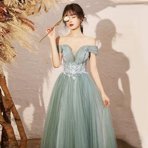 Élégant Vert Cendré Dansant Robe De Bal 2020 Princesse De l'épaule Manches Courtes Appliques En Dentelle Perlage Longue Volants Dos Nu Robe De Ceremonie