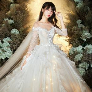 Chic / Beautiful Champagne See-through Wedding Dresses 2020 Ball Gown Scoop Neck 3/4 Sleeve Backless Glitter Organza Appliques Lace Beading Cathedral Train Ruffle