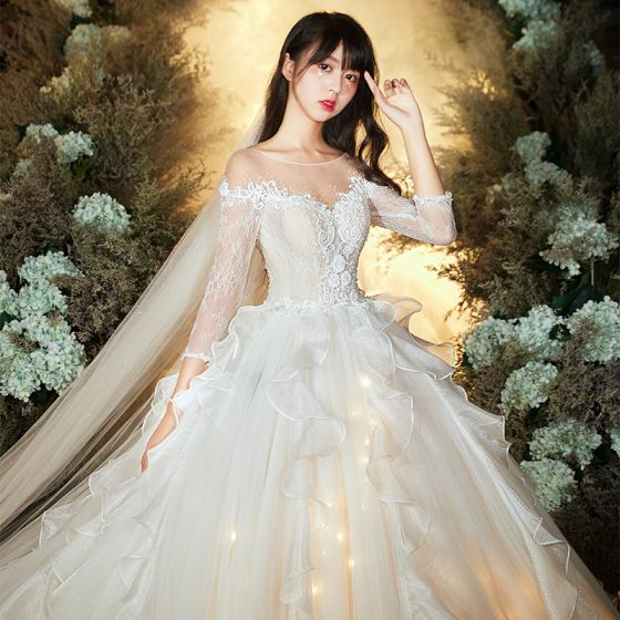 Wedding Gowns With Sleeves.Chic Beautiful Champagne See Through Wedding Dresses 2020 Ball Gown Scoop Neck 3 4 Sleeve Backless Glitter Organza Appliques Lace Beading Cathedral
