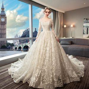 Luksusowe Beżowe Suknie Ślubne 2019 Princessa Wycięciem Frezowanie Perła Cekiny Z Koronki Kwiat Długie Rękawy Bez Pleców Trenem Królewski