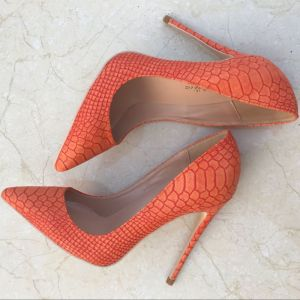 Flotte Orange Casual Læder Pumps 2019 Slangeskind Print 12 cm Stiletter Spidse Tå Pumps