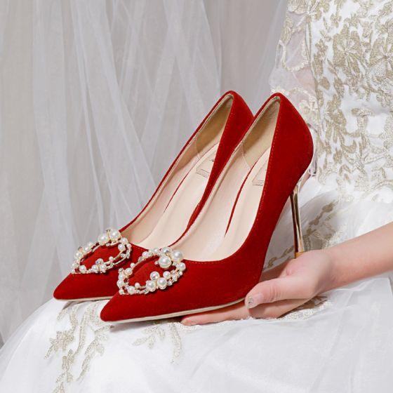 Chic / Belle Rouge Perle Faux Diamant Chaussure De Mariée 2021 10 cm Talons Aiguilles À Bout Pointu Mariage Escarpins Talons Hauts