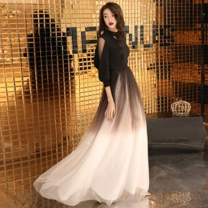Chic / Beautiful Gradient-Color Evening Dresses  2019 A-Line / Princess Bow V-Neck 3/4 Sleeve Floor-Length / Long Formal Dresses