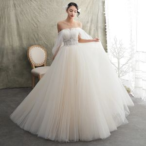 Classy Champagne Wedding Dresses 2019 A-Line / Princess Strapless Short Sleeve Backless Beading Sweep Train Ruffle