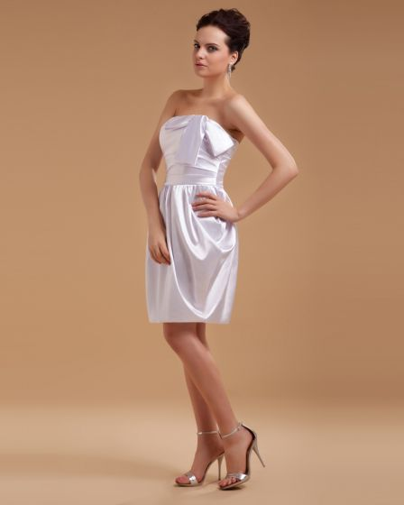 Satin Bowtie Short Bridal Gown Wedding Dress