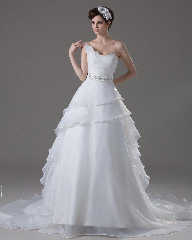 Sweetheart Floor Length Ruffles Beading Pleated Yarn A Line Wedding Dress