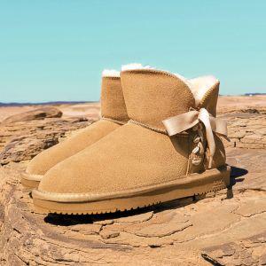 Schöne Braun Schneestiefel 2020 Leder Schnüren Ankle Boots Winter Flache Freizeit Runde Zeh Stiefel Damen