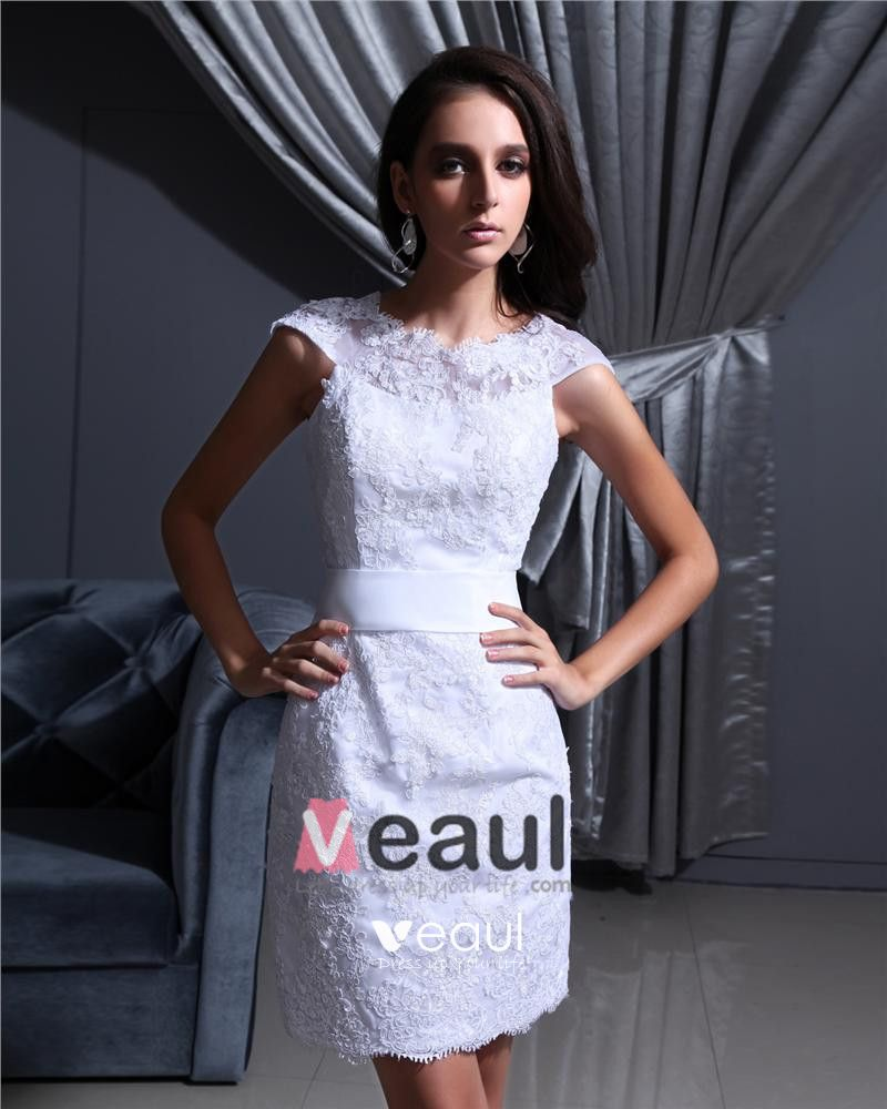 Jewel Sleeveless Zipper Applique Mini Length Satin Woman Mini Wedding Dress