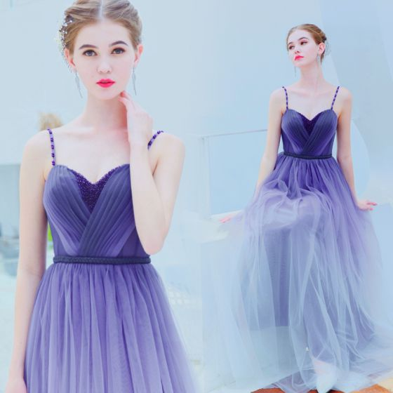 Charming Purple Gradient-Color Evening Dresses  2019 A-Line / Princess Spaghetti Straps Beading Crystal Sleeveless Backless Floor-Length / Long Formal Dresses