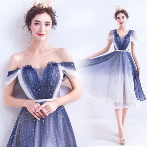 Fashion Ocean Blue Ivory Gradient-Color Cocktail Dresses 2020 A-Line / Princess Off-The-Shoulder Short Sleeve Backless Knee-Length Formal Dresses