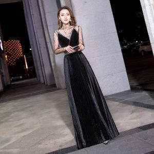 Mode Schwarz Durchsichtige Abendkleider 2019 A Linie Stehkragen Lange Ärmel Perlenstickerei Pailletten Stoffgürtel Lange Plissee Festliche Kleider