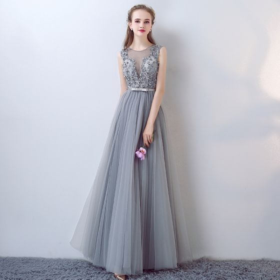 Chic / Beautiful A-Line / Princess Evening Dresses  2017 Grey Crossed Straps Strappy Charmeuse Lace V-Neck Sleeveless Cocktail Party Evening Party