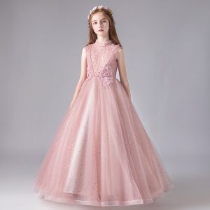 Vintage / Retro Pearl Pink See-through Birthday Flower Girl Dresses 2020 Ball Gown High Neck Sleeveless Appliques Lace Beading Sequins Tulle Floor-Length / Long Ruffle