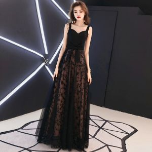 Chic / Beautiful Black Evening Dresses  2019 A-Line / Princess Spaghetti Straps Star Bow Sleeveless Backless Floor-Length / Long Formal Dresses