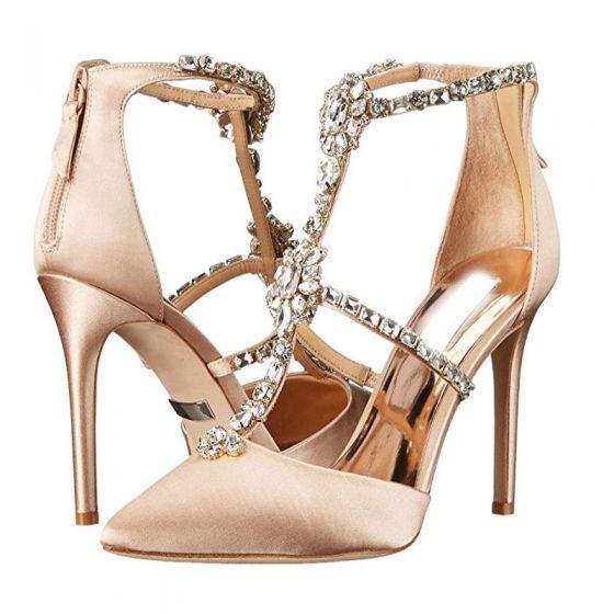 Gala Zapatos Crystal De Elegantes 2018 Champán Rhinestone T Mujer 6gcUZ4wq