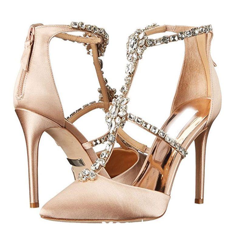 Precio pagable precio al por mayor al por mayor Elegantes Champán Gala Zapatos De Mujer 2018 Crystal Rhinestone T-Correa 8  cm Stilettos / Tacones De Aguja Punta Estrecha Tacones