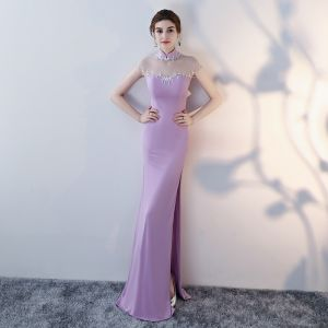 Chinese style Lilac Evening Dresses  2017 Trumpet / Mermaid High Neck Sleeveless Backless Pierced Beading Crystal Rhinestone Floor-Length / Long Split Front Formal Dresses