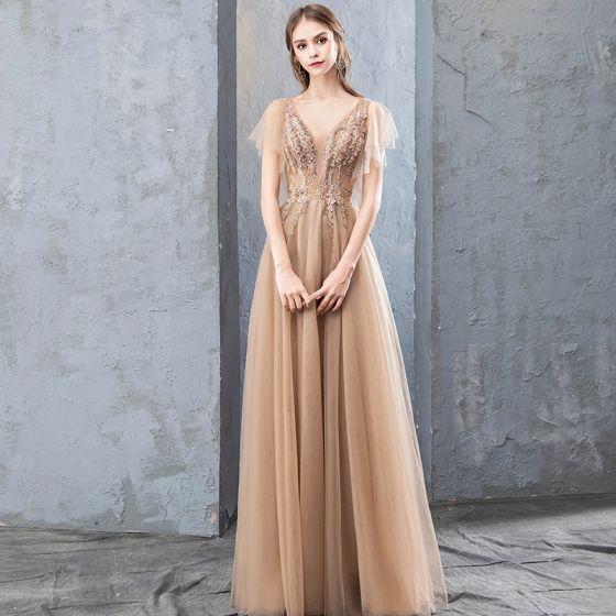 Modern / Fashion Champagne Evening Dresses  2019 A-Line / Princess Lace Flower Appliques Rhinestone V-Neck Backless Short Sleeve Floor-Length / Long Formal Dresses